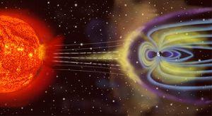 Μια καλλιτεχνική  ¨ερμηνεία¨ της μαγνητόσφαιρας και πως τα ηλιακά σωματίδια αλληλοεπιδρούν  με την μαγνητόσφαιρα της γης.