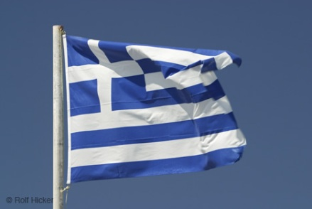 Europe, Greece, Santorini, Greek islands, Greek Flag