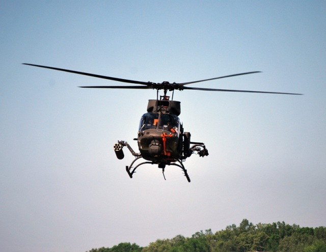 First flight of the OH-58F on April 30, 2013 Photo courtesy of U.S. Army