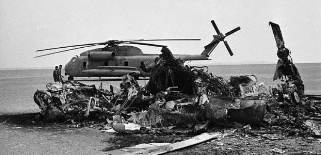 Destroyed and abandoned U.S. RH-53Ds in Iran. Wikipedia photo