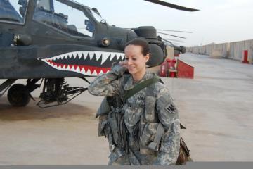 U.S. Army Captain Elizabeth McNamara, an AH-64 pilot, on the flight line in Iraq in 2011(Army / 1st Lt. Jason Sweeney)