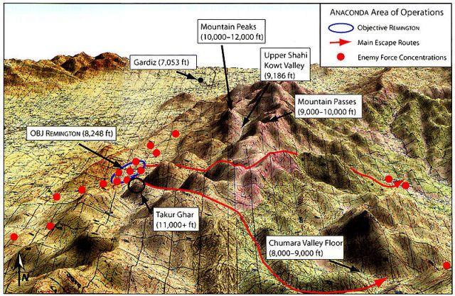 Στο παραπάνω ανάγλυφο φαίνεται η περιοχή της επιχείρησης ANACONDA.