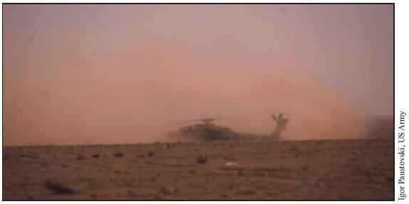 Επιθετικό Ε/Π Apache σε κατάσταση brownout λόγω της σκόνης στο ΠΣΕΚΠ (FARP) SHELL