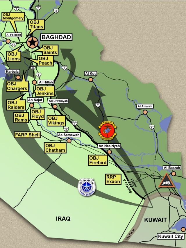 V Corps and I MEF maneuver to Baghdad